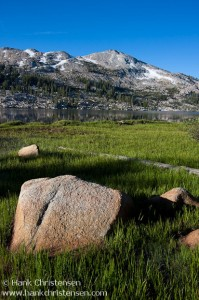 Granite stone and green grasses lead to Emigrant Lake, Emigrant Wilderness, California