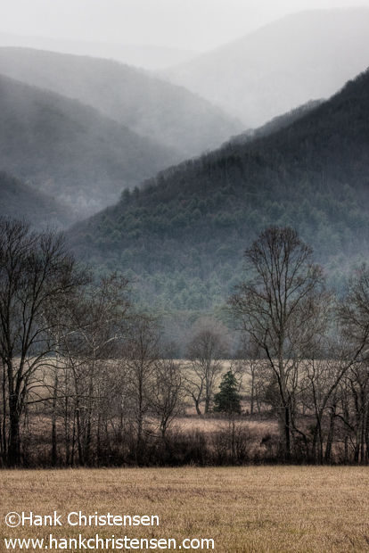 Giving the Great Smoky Mountains their name, fog rises out of Cades Cove