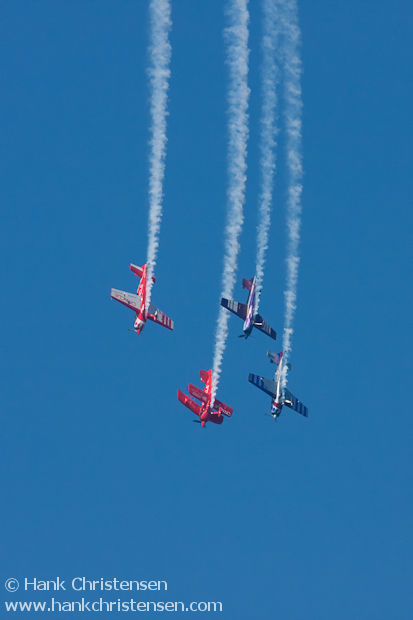 Prop planes perform aerobatics during the San Francisco Fleet Week airshow