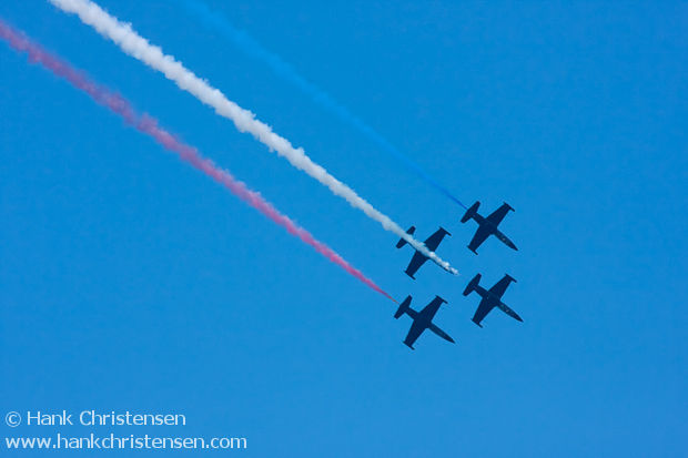 Patriot jets show their red white and blue