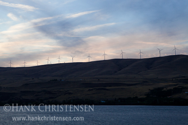 Wind turbines line the cliffs along the river, Columbia River Gorge, Oregon