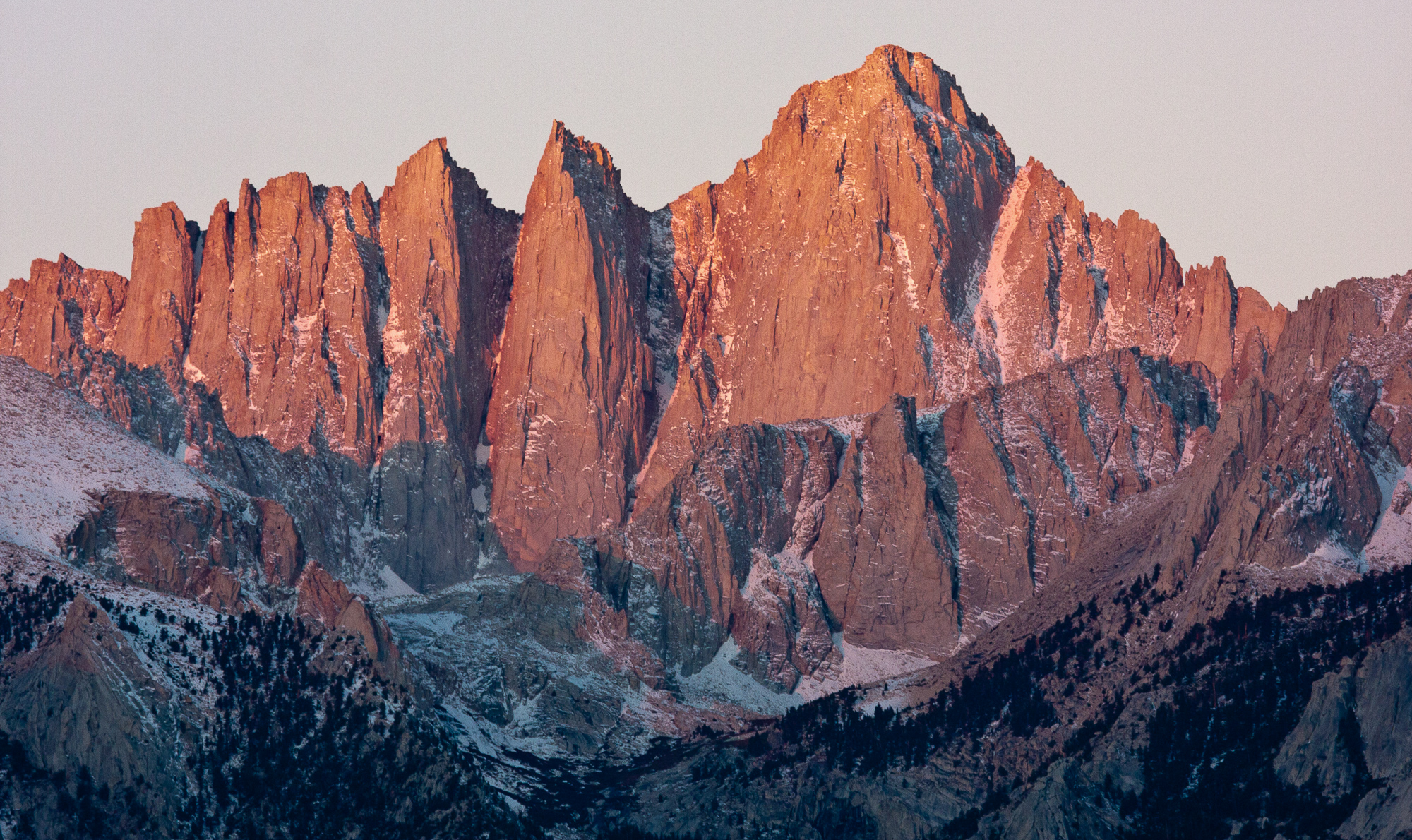 Mt. Whitney glows red in pre-dawn light, Alabama Hills, CA