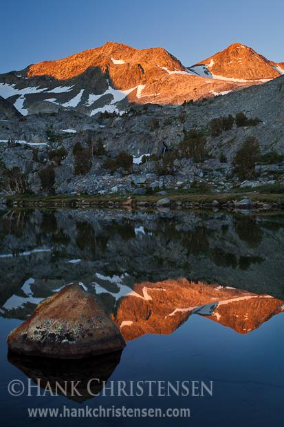 The morning sun touches the peaks surrounding Davis Lake, Ansel Adams Wilderness