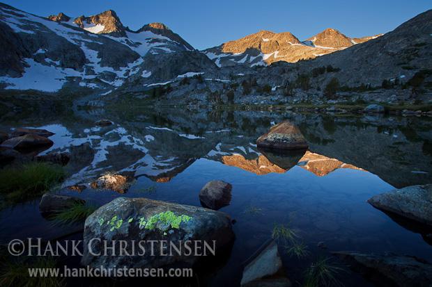 Sun lights the tip of Mt. Davis at dawn, Ansel Adams Wilderness