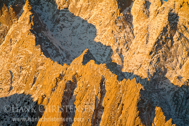 Snow, rock, shadow and light combine to illustrate the steep slopes of Mt. Langley at dawn