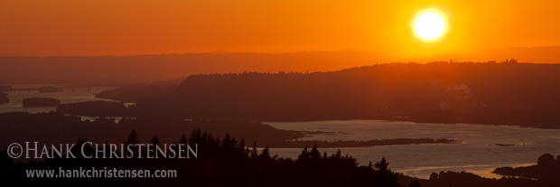 The sun sets over the Columbia River, just east of Portland, OR