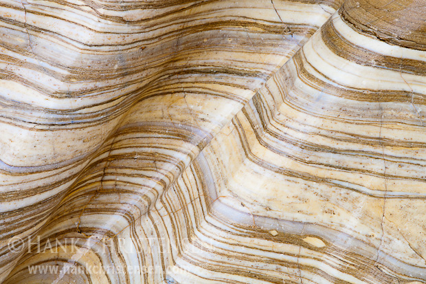 Petrified Sandstone ripples in layers along the wall of Mosaic Canyon, Death Valley National Park