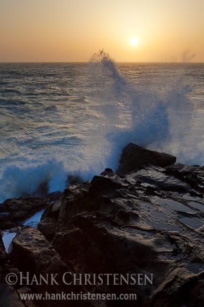 Waves crash against sandstone headlands, Salt Point State Park, California