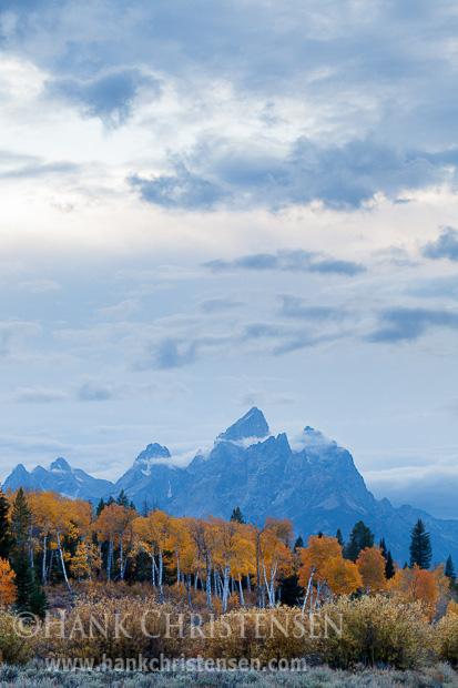 Storm clouds drift high above the Tetons, Grand Teton National Park