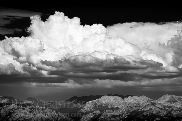 Clouds build over the northern mountains of Yosemite National Park. In the summer, afternoon thunder storms are common, often lasting less than an hour.