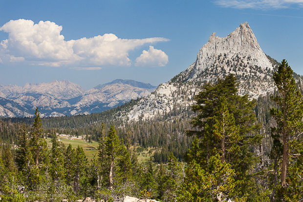 Cathedral Peak stands tall overlooking the surrounding wilderness, Yosemite National Park