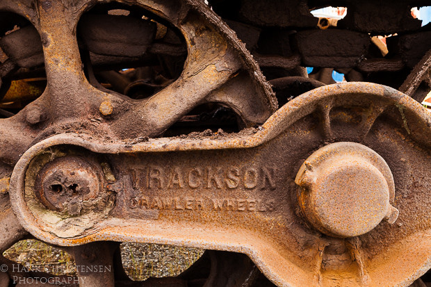 Ancient logging machinery rusts in the damp weather of Charleston Oregon