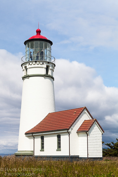 Cape Blanco Lighthouse stands on a point that juts out a half mile into the ocean.  Its light can be seen up to 23 miles out to sea.
