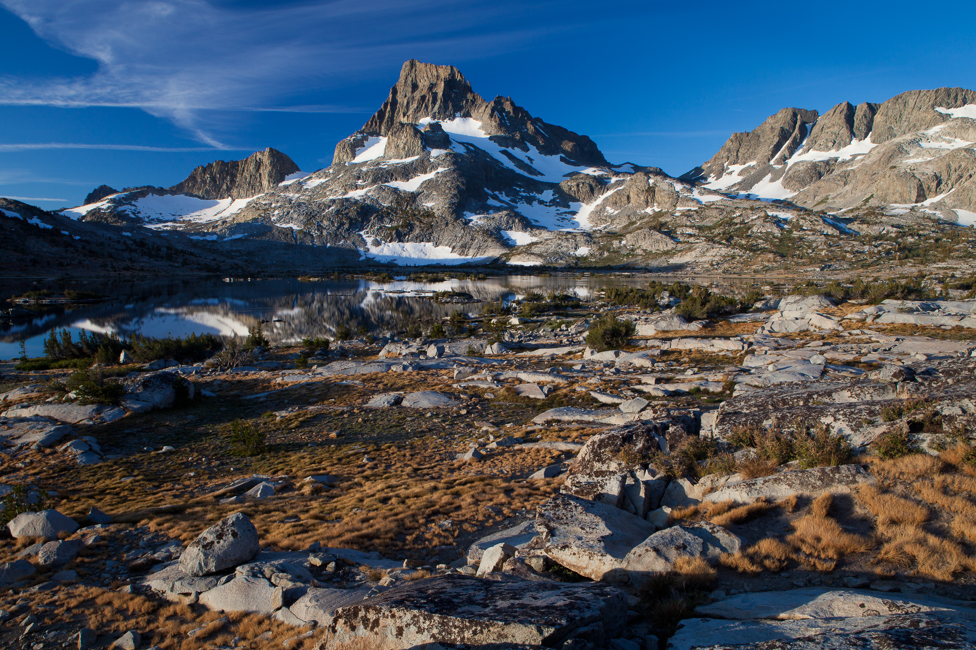 The sun rises over Thousand Island Lake and Banner Peak, Ansel Adams Wilderness