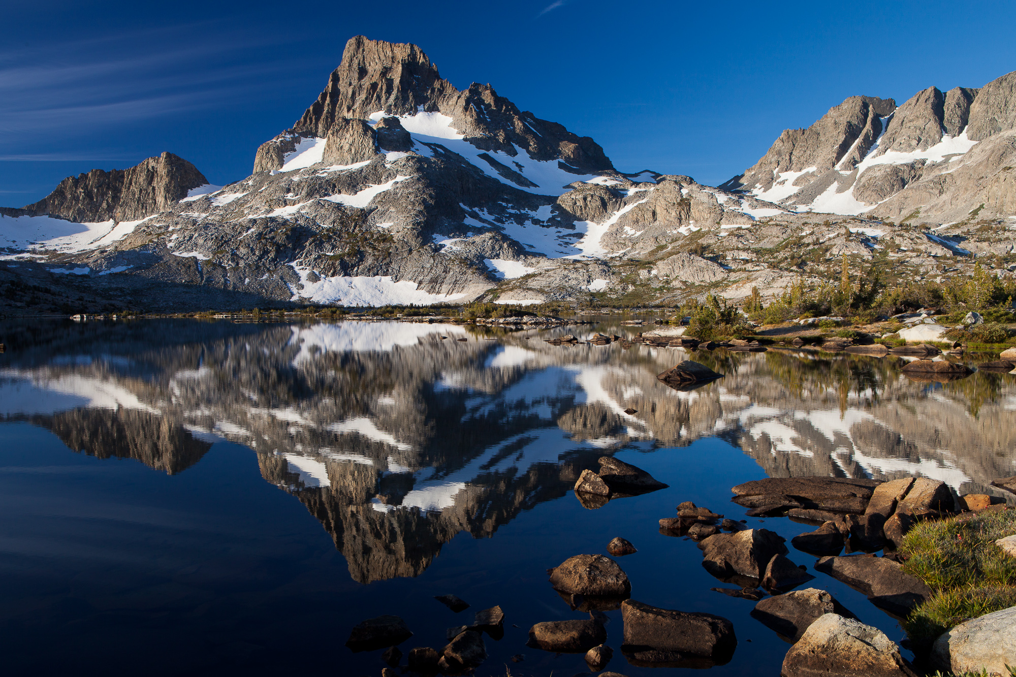 Banner Peak is reflected in Thousand Island Lake at dawn, Ansel Adams Wilderness