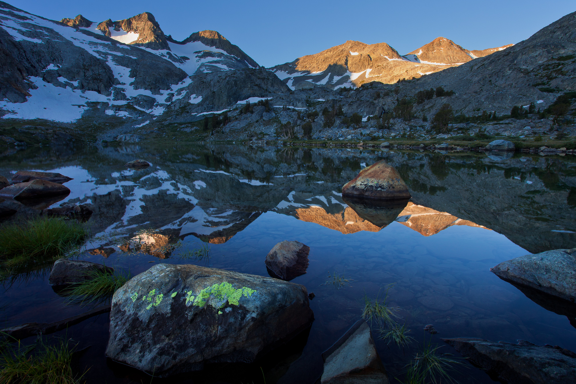 Sun lights the tip of Mt. Davis at dawn, Ansel Adams Wilderness
