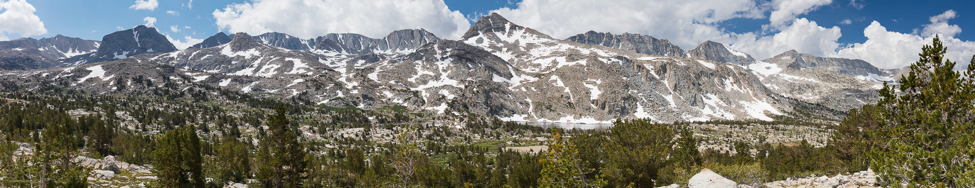 Mt Goethe and surrounding peaks provide a panoramic view just over Piute Pass, Inyo National Forest, CA.